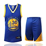 Warriors Stephen Curry #30 NBA Maillot De Basket pour Enfant Adulte Set VêTements De Sport,Blue,L-170-175CM