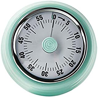 OBO No Battery Mechanical Kitchen Timer, Powerful Magnet,Countdown Cute Loudly Alarm time Manager (Green)