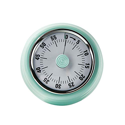 OBO No Battery Mechanical Kitchen Timer Powerful Magnet Countdown Cute Loudly Alarm time Manager for Cooking Wind up(Green)