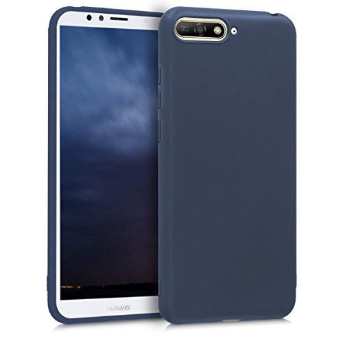kwmobile Funda Compatible con Huawei Y6 (2018) - Carcasa de TPU Silicona - Protector Trasero en Azul Oscuro Mate