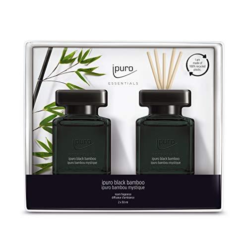 ipuro Essentials Raumduft black bamboo 2x50ml – hochwertiger Lufterfrischer - Raumduft-Set für ein herb-frisches Raumklima – umweltfreundliches Design