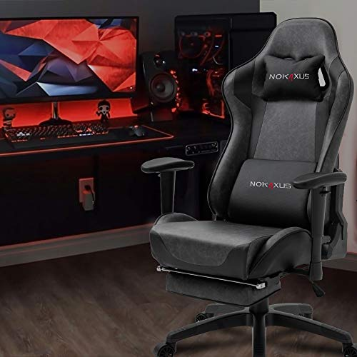 NOKAXUS Office Chair Computer Gaming Chair with Massage Lumbar Support and Retractible Footrest PU Leather 90-180 Degree Adjustment of Backrest (YK-6008-GRAY S1)