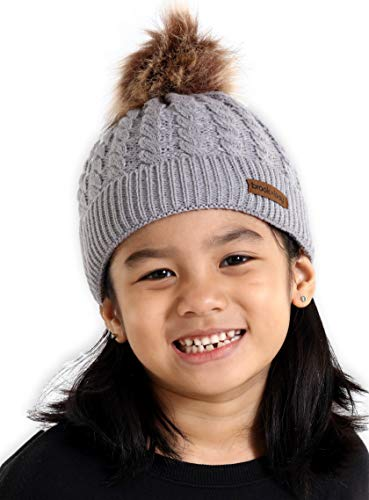 Kids Faux Fur Pom Beanie - Fits Girls, Boys, Toddlers & Children Ages 1 & Up - Thick, Soft & Warm Cable Knit Hats - Cozy Kids Cold Weather Chunky Hat for The Winter Season