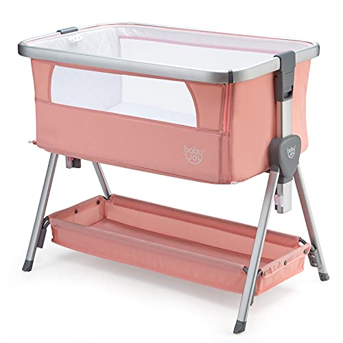 COSTWAY Bedside Crib, Folding Baby Bassinet with Mattress, Mesh Windows, Storage Basket and Wheels, 7 Height Adjustable Sleeping Cot for 0-6 Months, 9 kg (Pink)