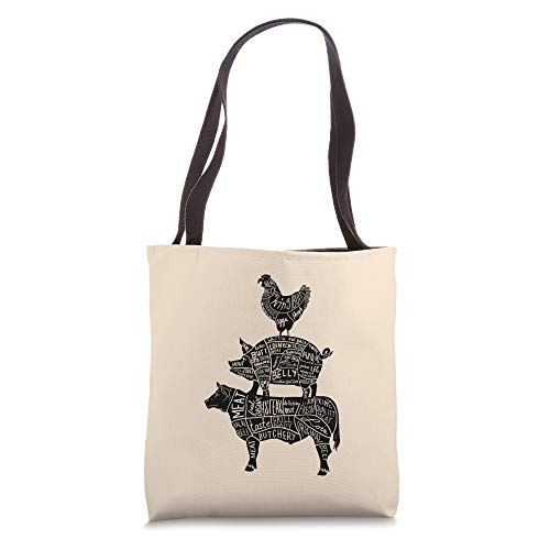 Cow Pig Chicken Parts Retro Beef Pork Poultry Meat Cuts Gift Tote Bag