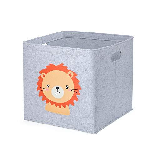 Aufbewahrungsbox Kinder Spielzeugkiste Filzkorb für Kinderzimmer, 33 x 33 x 33 cm, Ordnungsbox mit Tiermuster, Kallax Boxen für Spielzeugaufbewahrung (Löwe)