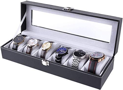 Femor Uhrenbox für 6 Uhren mit Glasfenster Watch Box Uhren Aufbewahrung aus...