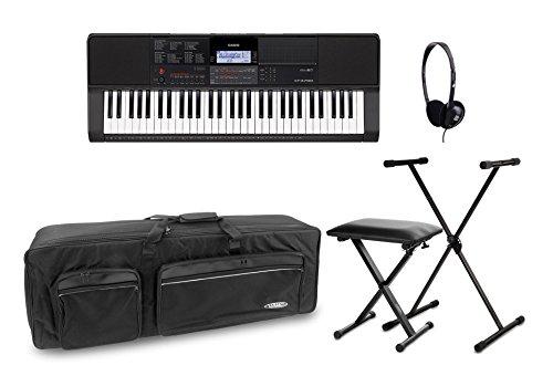 Casio CT-X700 Keyboard Deluxe Set (digital Keyboard mit 61 Tasten, X-Keyboardständer, Kopfhörer, Keyboardbank & Transporttasche) Schwarz