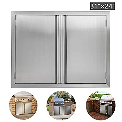 """BI-DTOOL Double BBQ Access Door 304 Brushed Stainless Steel BBQ Island Doors for Outdoor Kitchen, Outdoor Cabinet, Barbeque Grill or BBQ Island (31"""" W x 24"""" H)"""