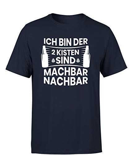 Ich Bin der 2 Kisten sind Machbar Nachbar T-Shirt Herren, Farbe: Navy, Größe: Xx-Large