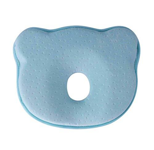 KZKR - Almohada para bebé (anticabeza plana, tratamiento de la cabeza con memoria de forma que evita la asfixia, almohada para recién nacido de 0 a 1 años), color azul