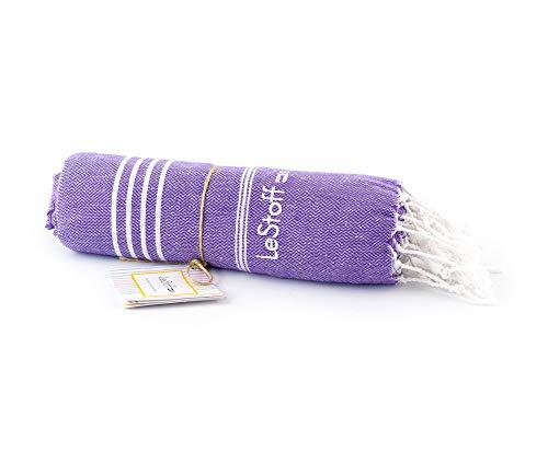 LeStoff Toalla Turca para Hammam 100% Algodón 100x180cm Ultra Suave Altamente Absorbente Secado Rápido Playa Piscina Baño Sauna Viaje SPA Manta Ligera y Ecológica Peshtemal - (Ultra Violet)