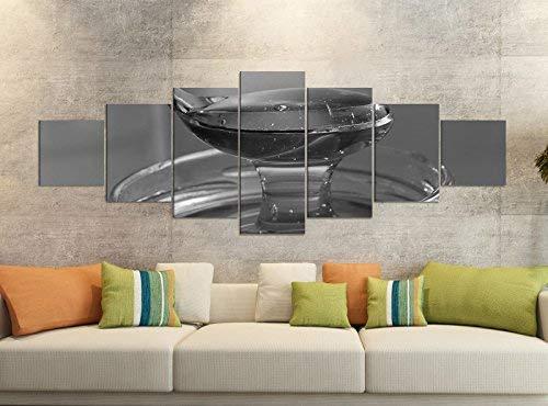 Canvas foto's 7-delig 280x100cm zwart honing lepel glas geknoopt goud keuken lekker canvas afbeelding delen delen kunstdruk wandafbeelding meerdelig 9YB2631 ca. 280cmx100cm