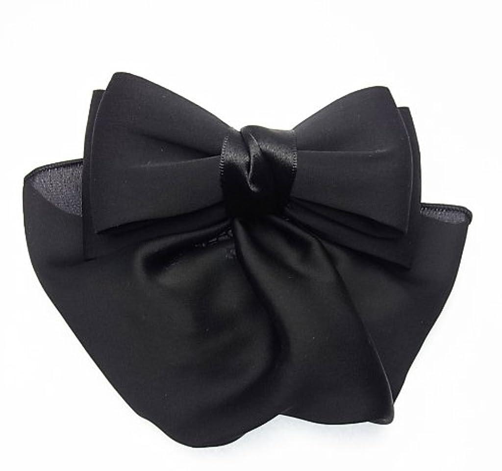 スポンサー手配する規制美人髪 リボン バレッタ(ネット付) 小さめリボン/カバー付