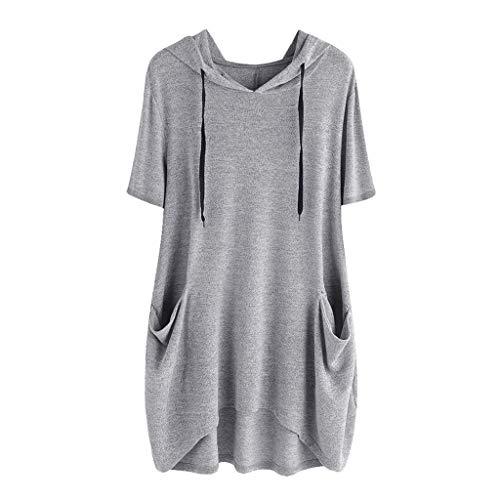 Berimaterry Damen Kapuzenshirt Kurzarm T-Shirt Bluse mit Hoodie Unregelmäßiges Casual Tee Shirt Oberteil Einfarbige Lose Große Größe Top mit Taschen