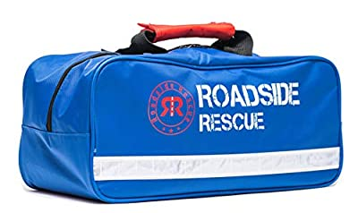 Roadside Emergency Assistance Kit - Packed 110 Premium Pieces & Rugged Bag - Car, Truck & RV Kit with Heavy Duty Jumper Cables • Heavy Duty Tow Strap • Safety Triangle • First Aid & more from Roadside Rescue Solutions Emergency Assistance Kits