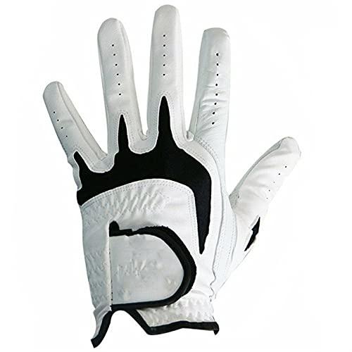 TTSJSM Golf Handschuh,Golfhandschuh Herren 3 stücke Alle Wetter Leder Herren Golfhandschuhe Natürliche Fit Klettverschluss Haltbare Linke Hand Rechte Hand (Color : Worn on Left Hand, Size : M)