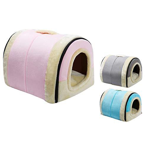 Hollypet Katzenhöhle, Katzenbett, Kleiner Hund Bett, Haustierbett 2-in-1 Faltbares Katzenzelt Warmes Höhlennest für Katze, Rosa