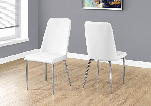 """Monarch Specialties I 2 Piece Dining CHAIR-2PCS Leather-Look/Chrome, 18""""L x 16.5""""D x 37""""H, White"""