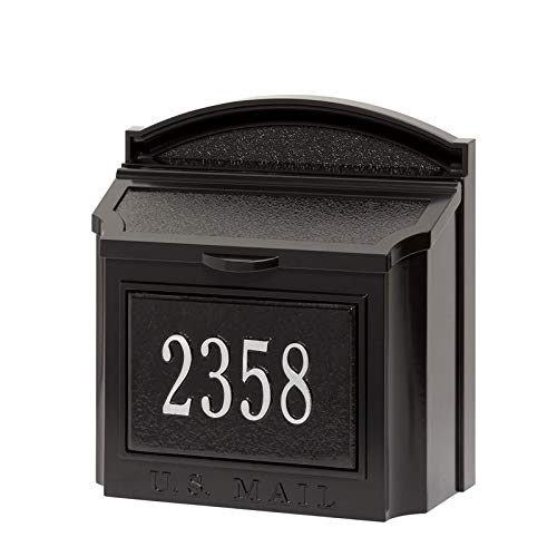 Whitehall 16140 Wall Mailbox with 1426BS Mailbox Plaque in Black/Silver Package