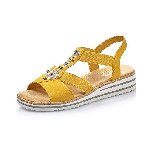 Rieker Femme Sandales V0687, Dame Sandales compensées,Sandales compensées,Chaussures d'été,Confortable,Plat,Gelb,40 EU / 6,5 UK
