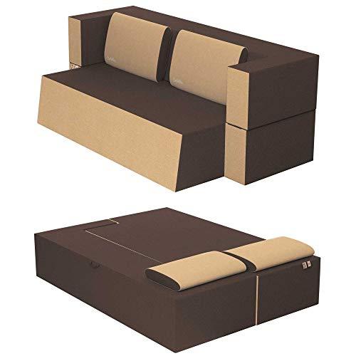 Baldiflex Sofá Cama de 2 plazas, Modelo práctico, de Poliuretano y Espuma viscoelástica, Funda extraíble y Lavable, Color Sepia