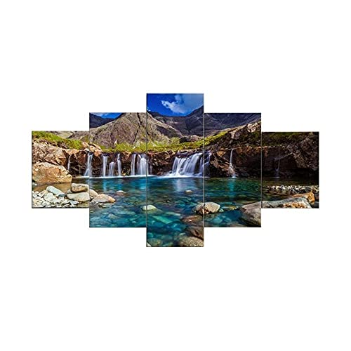IIIUHU Cuadro sobre Impresión Lienzo 5 Piezas - Cuadros en Lienzo Paisaje montaña Lago 5 Piezas con Marco Dormitorios Decoración para El Hogar -Cuadro Pared Salon Abstracto-Listo para Colgar