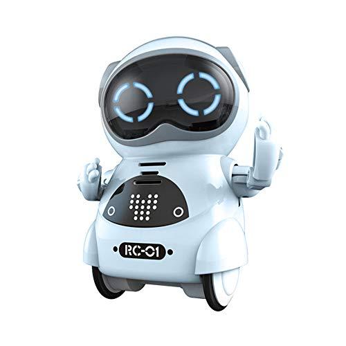RC TECNIC Mini Robot Interactivo para Niños Reconoce Tu Voz Responde Español Baila Música | Pocket Toy Robot | Juguete electronico Infantil de Bolsillo (Azul)