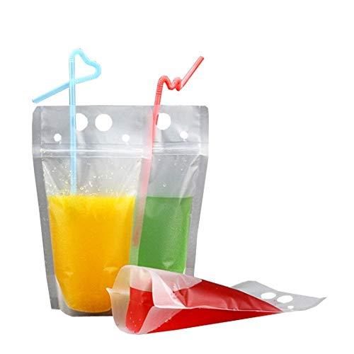 50 bolsas para bebidas con cierre de cierre, bolsas de mano con pajita de plástico, 5 x 9 pulgadas, 8 mil