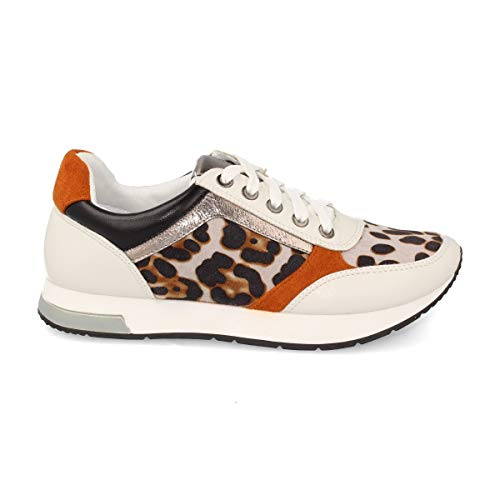Deportivo de Mujer Sneaker Casual con Cordones y Estampado Animal Print. Otono-Invierno 2019. Talla 36 Leopardo