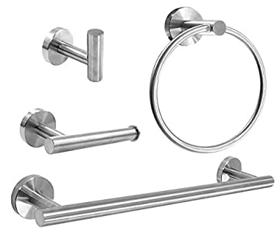 AIMILI HILIN 4 Pieces Bathroom Hardware Set,Towel Ring Toilet Paper Roll Holder-Towel Hooks-Towel Bar Sets SUS304 Stainless Steel Wall Mount Bathroom Accessories