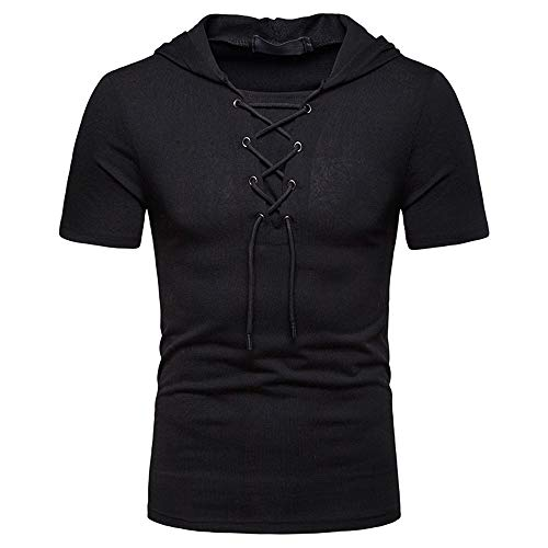 Shirt Uomo Estate Tinta Unita Slim Fit Moderno Uomo Sportivo Shirt Allacciatura Funzionale Shirt Basic Stretch Fitness Shirt Casual Wicking Traspirante Uomo Cappuccio T-Shirt B-Black XL