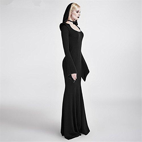 Punk Rave Vestito gotico da donna con cappuccio cappotto aristocratico punk cappuccio vestito a maniche lunghe, 2XL