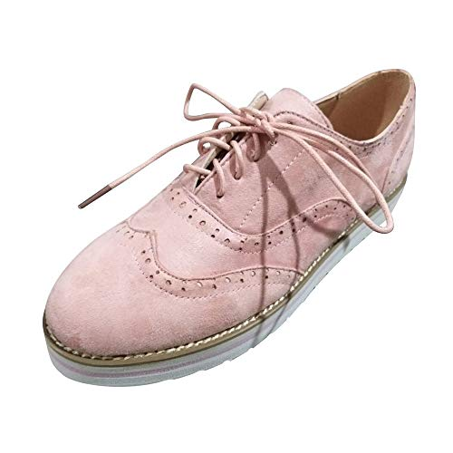 Women Desert Boot Shoes Flat Suede Brogues Vintage Lace Up Low-Top Ankle Boots Casual Round Toe Solid Color(Pink,41)