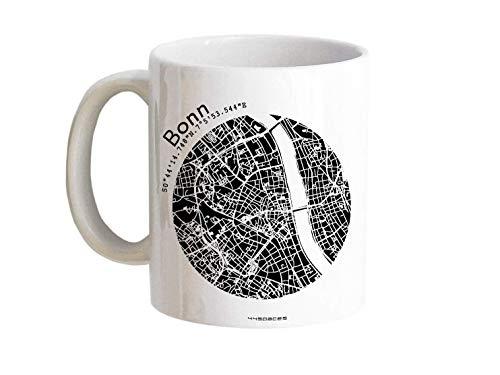 Tasse Bonn - Bürotasse Kaffeebecher farbige Stadtkarte Städtetasse - Personalisierte Geschenkidee für Kollegen Kollegin Architekt Richtfest Fernweh Heimweh