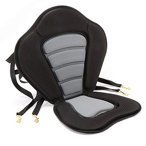 Cojín de asiento de kayak ajustable para remo al océano, desmontable y antideslizante, acolchado, color negro