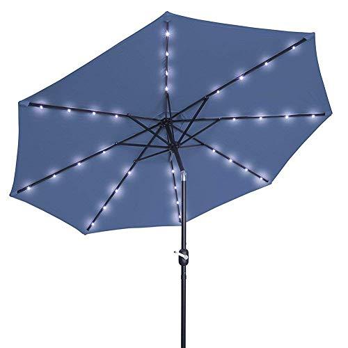 N/Z Inicio Equipos Sombrillas Paraguas de luz Solar de manivela de 2,5 m Paraguas LED para Patio de Mercado Paraguas LED para Exteriores Paraguas de jardín LED con Carga automática (Color: Azul)