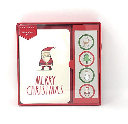 Rae Dunn Christmas Note Card Set 12 Count Includes Envelopes and Stickers Santa Merry Christmas