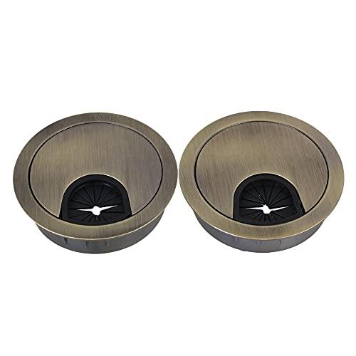 Pasacables Mesa,Pasacables Escritorio Cubierta de aleación de aleación de aleación de aleación de zinc de 50 mm de bronce cubierta de escritorio del ordenador Cable de la computadora Paquete de ojal d
