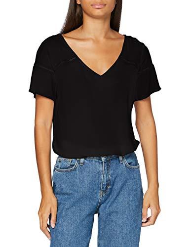 Vila NOS Damen VIMERO Detail S/S TOP/SU -NOOS T-Shirt, Black, 40