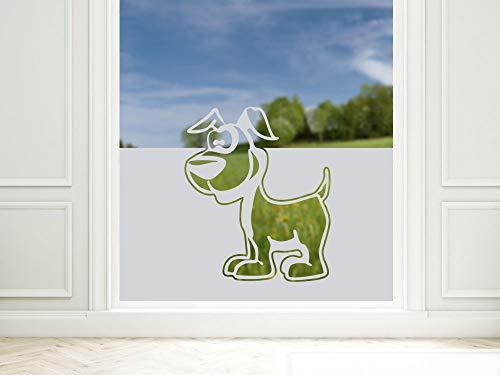 GRAZDesign Sichtschutzfolie Hund, lichtdurchlässige/blickdichte Fensterfolie, Matte Deko, Glasdekorfolie / 80x57cm
