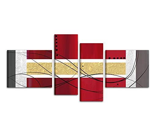 I Colori del Caribe Quadri Astratti Dipinti A Mano Rosso Oro COMPONIBILI Pannelli Composizione per ARREDARE CASA Salone Ufficio Cucina Alta QUALITA' Made in Italy - ARTES