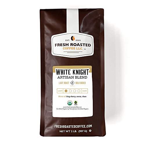 Fresh Roasted Coffee, White Knight Light Roast, Organic Fair Trade Kosher, Whole Bean, 32 Ounce