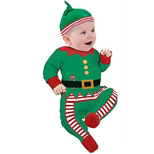 Homebaby - Bambino Ragazzo delle Neonate 2pcs Stampa Natalizia Pagliaccetto + Cappello Set Tuta Abiti da Pigiama Costume di Natale Cartone Animato Invernali Regalo Bambini