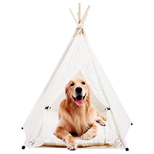 DEWEL Tienda para Perros Gatos, Tienda de campaña para Mascotas con cojín, Tienda Caseta para Mascotas Pequeño Mediano Grande