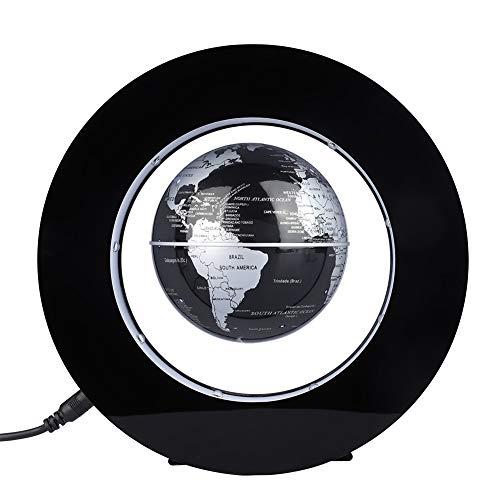 Fdit - Globo flotante magnético con luz LED (plateado y negro)