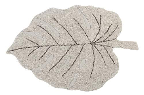 Lorena Canals - Alfombra Lavable Monstera Natural - Natural, Marrón Tierra - 97% algodón 3% Otras Fibras. Base: Algodón Reciclado - 120x180 cm