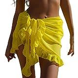 Falda Transparente de Playa Mini Falda Sexy Ajustable de Verano Pareo de Volantes Cubierta de Bikini Cover Up de Bañador para Mujer Encubrimiento de Traje de Baño para Piscina Viaje, Amarillo