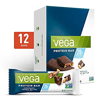 Vega 20g Protein Bar High- Plant Based Vegetarian Chocolate Peanut Butter 2.5 Ounce  Pack of 12