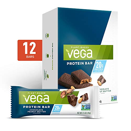 Vega 20g Protein bar Chocolate Peanut Butter, Plant Based Vegan Protein Bars, Non Dairy, Gluten Free, Non GMO, 12 Count per pack, 29.6 Ounce